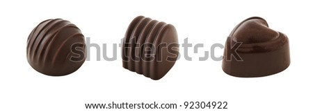 Set of three chocolate candy of different shape isolated on white background. Clipping path included