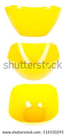 Set of three closeup yellow plastic plates isolated on a white background