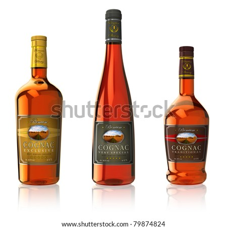 Set of three cognac bottles isolated on white reflective background