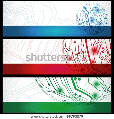 Set of three electric board banners