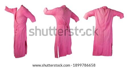 set of three female pink bathrobe isolated on white background.women's terry bathrobe ストックフォト ©