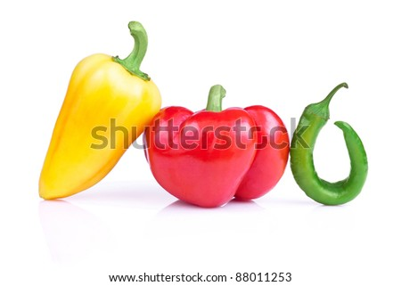 Set of three fresh peppers Isolated on a white background