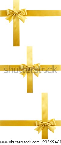 set of three gift ribbon bows, golden satin, isolated on white