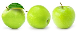 Set of three green granny smith apples with water droplets isolated on white background.