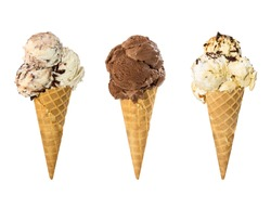 Set of three ice cream in waffle cone isolated on white background.