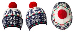 Set of three   knitted dark blue red white gree hat isolated on white background .hat with red pompon .