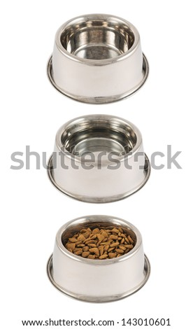 Set of three pet's dog metal bowls filled with dry food, water and empty isolated over white background