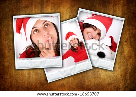 set of three photo frames with christmas images over grunge background