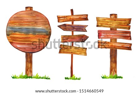 Set of three signposts and arrows with grass. Hand drawn watercolor illustration. Isolated on white background