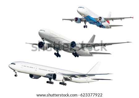 Set of three soaring aircraft isolated against background.