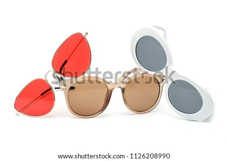 set of three sunglasses isolated on white #1126208990