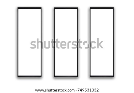 Set of three vertical frames. Mock up for pictures artworks and text ...