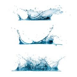 Set of three water splashes