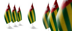 Set of Togo national flags on a white background