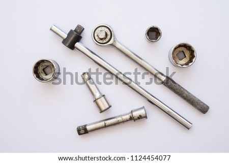 Set of tool ratchet torque wrench, socket wrench on white background - tool accessories