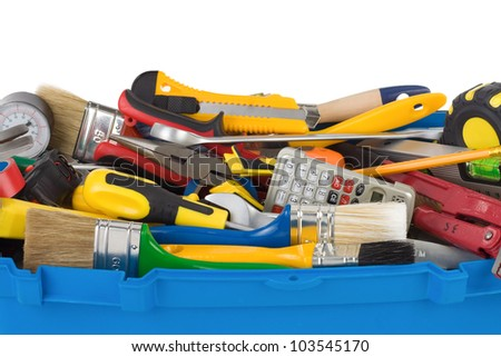 set of tools and instruments in box isolated on white background