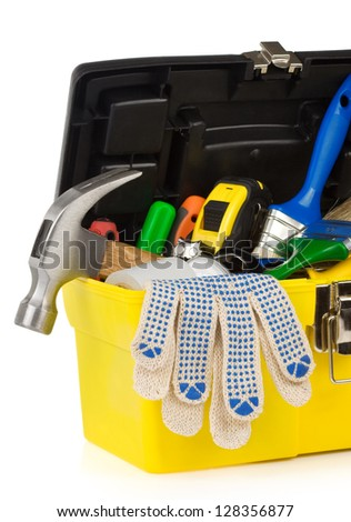 set of tools and instruments in toolbox isolated on white background