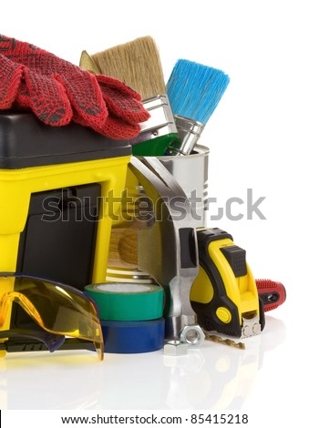 set of tools and toolbox isolated on white background