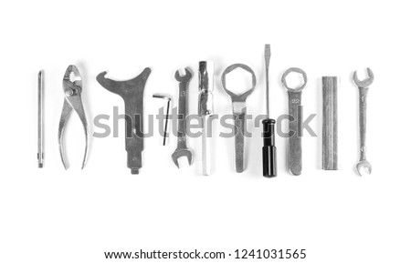 Set of tools. Close up. Isolated on white background. #1241031565