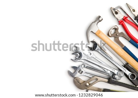 Set of tools. Hand tools for craftsmen isolated on white background. #1232829046