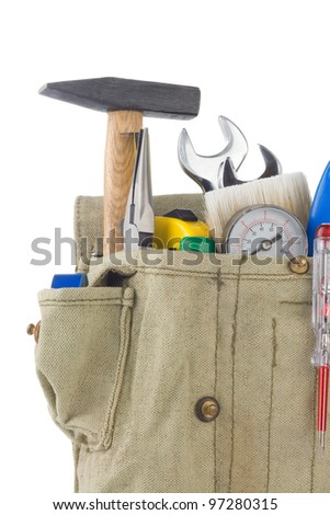 set of tools in bag box isolated on white background - stock photo