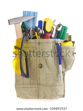 set of tools in tool box isolated at white background