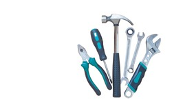 Set of tools isolated on white background, Industrial work tools.