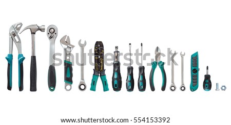 set of tools, Many tools isolated on white background. - Shutterstock ID 554153392