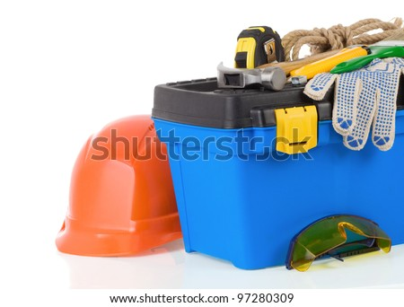set of tools on toolbox isolated at white background