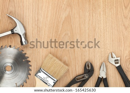 Set of tools on wood panel background with copy space #165425630