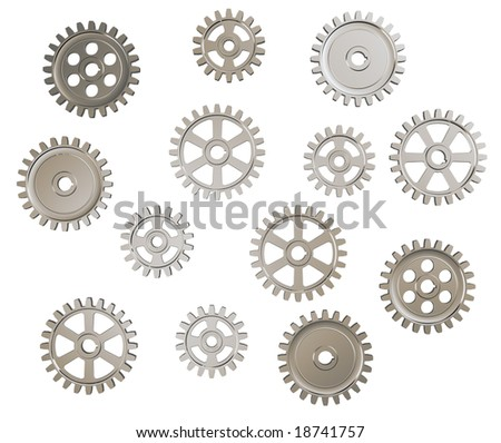 Set of toothed gears on white background