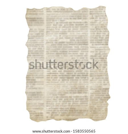 Set of torn newspaper pieces isolated on white background. Old grunge newspapers textured paper collection. Newsprint typed vintage sheets. Unreadable aged pages. Space for text.