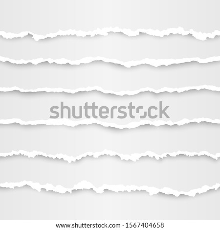 Set of torn paper stripes element. Abstract paper texture with damaged edge. illustration  Foto d'archivio ©