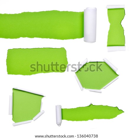 Set of torn paper with green background