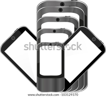 Set of touchscreen smart phones isolated on white background - raster
