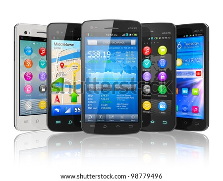 Set of touchscreen smartphones isolated on white reflective background