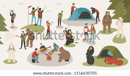 Set of tourists or backpackers pitching tent, hiking, sitting around bonfire, singing songs and playing guitars at camping or forest camp. Backpacking trip or expedition. Cartoon illustration.