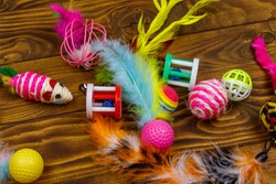 Set of toys for cat on wooden background