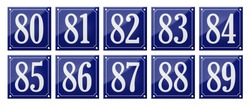 Set of traditional blue enamel signs - Numbers 80- 89