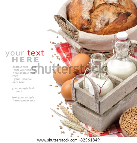 Set of traditional countryside breakfast isolated over white with copyspace
