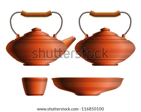 Set of traditional red ceramic teapot, sugar pot, cup and saucer with metal handle. Raster version of the vector image