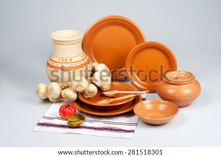 Set of traditional rustic Ukrainian, Russian dishes