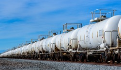 Set of train tanks with oil and fuel transport by rail