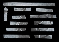 Set of transparent adhesive tape isolated on black background with clipping path