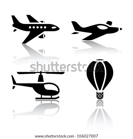 Set of transport icons - aircrafts. Eps version also available in my image gallery