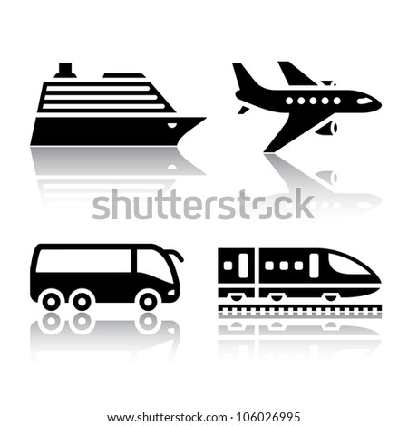 Set of transport icons - tourist transport. Eps version also available in my image gallery