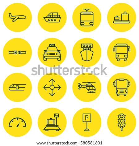 Set Of 16 Transportation Icons. Includes Streetcar, Baggage, Car Vehicle And Other Symbols. Beautiful Design Elements.