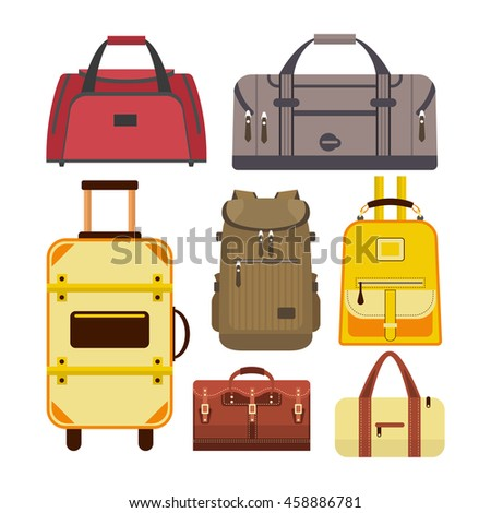 Set of travel bags. Illustration with different types of luggage icons isolated on white background.