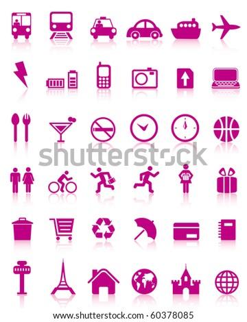 Set of 36  travel icons
