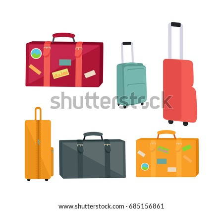Set of travel suitcases and bags s. Flat design. Collection of various handle baggage. Colored suitcases with telescopic handle, wheels and stickers. For touristic concepts, travel companies ad.